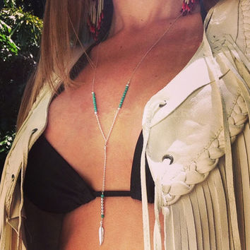 Shiny Jewelry Gift New Arrival Stylish Bohemia Handcrafts Turquoise Feather Tassels Chain Necklace [9693119373]