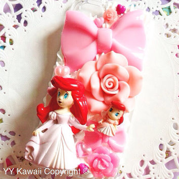 Disney Princess Ariel Little Mermaid Kawaii Decoden Phone Case for IPhone 4/4s 5 5s 5c samsung galaxy S2 S3 S4 mini