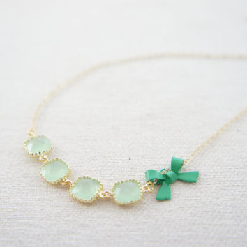 mint green gem and green bow necklace with 18K gold vermeil over sterling silver chain, wedding, gift, birthday, valentine's day