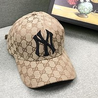 GUCCI & NY New fashion more letter embroidery letter couple cap hat Khaki