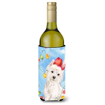Christmas Lights Westie Wine Bottle Beverage Insulator Hugger CK2511LITERK