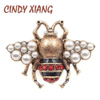 CINDY XIANG New Fashion Pearl Bee Brooches for Women Antique Gold Color Brooch Pin Vintage Style Jewelry High Quality Insect