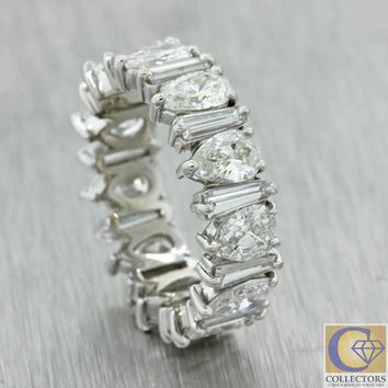 Platinum 3.00ctw Pear Tapered Baguette Diamond 5mm Eternity Wedding Band Ring