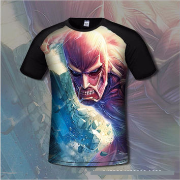 3D Print Comfortable Attack on Titans Men's T shirt Comfortable Anime T-shirts Casual gamer Clothing flexib short sleeve shirt