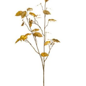 "Metallic Holly Leaf Spray in Gold - 33"" Tall"