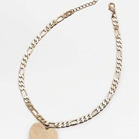 Stamped Heart '80s Necklace   Urban Outfitters