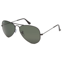Ray-Ban Aviator Classic Sunglasses Black/Crystal Green Solid One Size For Men 24694910001