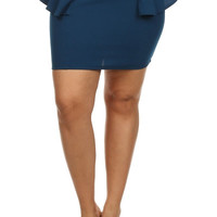 Mini Peplum Skirt - Teal - Plus Size - 1X - 2X