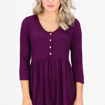 3/4 Sleeve Smocked Buttons Top {Plum}