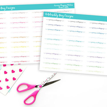 Grocery Shopping Script Reminder Planner Stickers for Erin Condren, Plum Planner, Inkwell Press, Kikki K or Any Size Planners