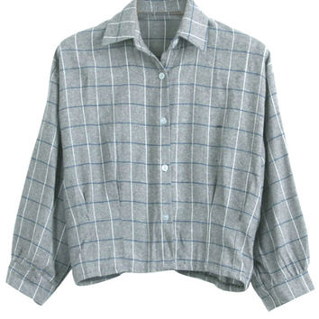 Cropped Plaid Button-up (3 colors) from milkball