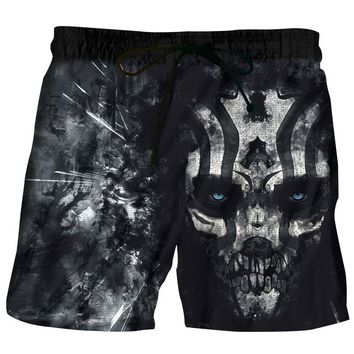 Men Beach Shorts 2018 Cruel skull black 3D Print Fashion Men's Bermuda Boardshorts Fitness Trousers Plus Size Quick Dry