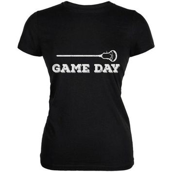 PEAPGQ9 Game Day Lacrosse Black Juniors Soft T-Shirt