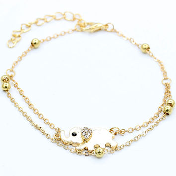 Crystal Elephant Charm Anklet Women gold 2 Layer Link Chain Metal Beads Barefoot S al Foot Jewelry Feet Bracelet SM6