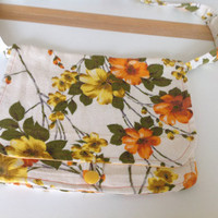 Floral Yellow and Orange Retro Cotton Shoilder Bag