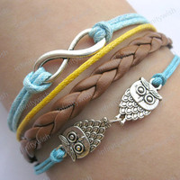 Bracelet-infinity bracelet,lover owls bracelet,braid leather bracelet-Z033