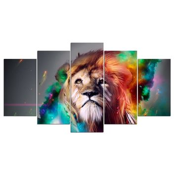 Leo Lion constellation zodiac space galaxy wall art for living room
