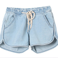 Drawstring Mid-Waist Denim Shorts
