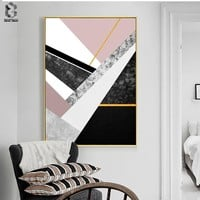 Nordic Marble Canvas Painting Wall Art Posters and Prints Classic Geometric Wall Picture for Living Room Home Decor Artwork