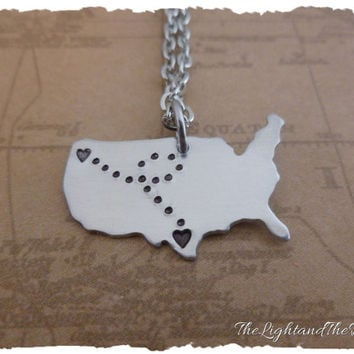 CUSTOM Long Distance Relationship Jewelry - USA - Map - States - Gift Idea - Customize - LDR - Long Distance Love