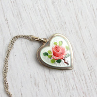 Vintage Guilloche Floral Heart Necklace - 1950s Sterling Silver Norway David Andersen Jewelry / Pink Norwegian Flower