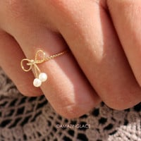 Tied Together Bow Pearl Ring