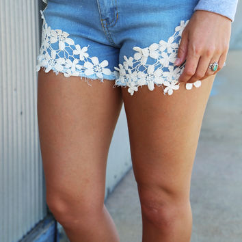 Denim + Crochet Shorties