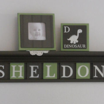"Dinosaur Nursery Decor Custom Letters SHELDON with Dino's 36"" Brown Shelf, Sign 9 Letters Brown / Green Personalized Baby Boy Nursery Decor"