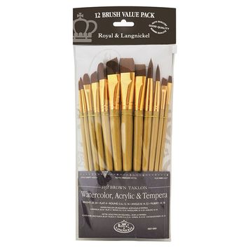 Royal & Langnickel 12-piece Long Handle Taklon Rounds & Angulars Brush Set (Brown)