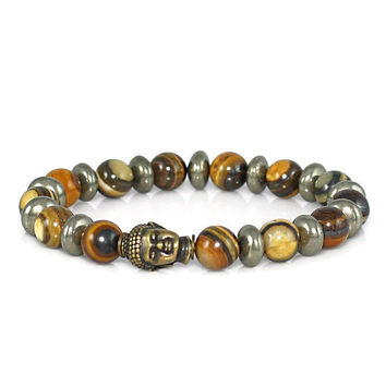 Beaded Buddha Bracelet with Jupiter Jasper and Pyrite