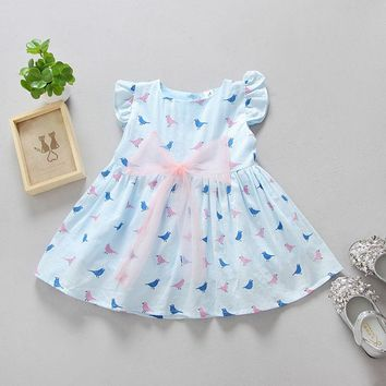 2017 Summer Kids Baby Girls Princess Party Dress Sleeveless Tutu Flower Dresses 1-6Y