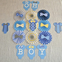Baby Shower Decor / Paper Rosettes for Baby Shower / Nursery Decor / Onesuit Theme Decor / Blue, Yellow and Gray Paper Rosettes / Paper Fans