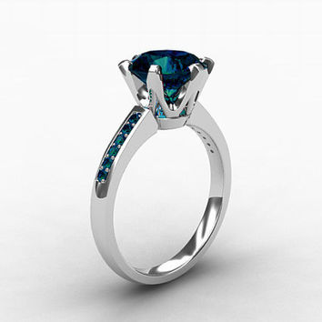 2.50ct London blue topaz ring, teal Diamond, white gold, Engagement ring, Blue, Diamond engagement, Topaz engagement, London blue