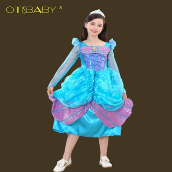 Girls New Year Party Ariel Princess Dress Girl Gorgeous Little Mermaid Dresses Blue Mermaid Costume for Kids Children Clothing