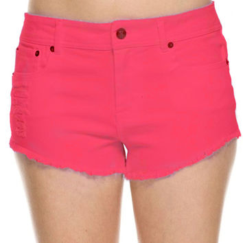 Mid Rise Distressed Cutoff Denim Shorts