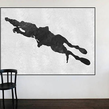 Large Abstract horse Jockey Painting On Canvas, Vertical Canvas Painting, Extra Large Wall Art, Abstract Art, Handmade Black white textures.