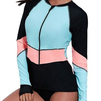 Womens Long Sleeve Front Zip Rashguard Surfing Bathing Suits