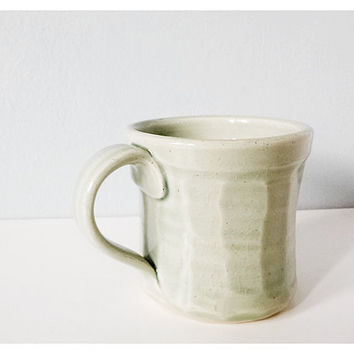 Small pottery mug espresso cup - faceted mint modern ceramic