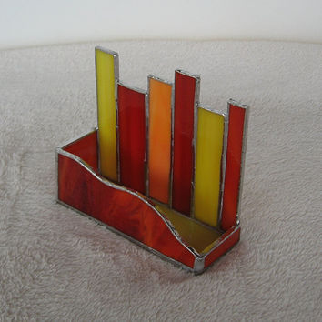 Stained Glass Business Card Holder--Red, Orange, and Yellow Mod