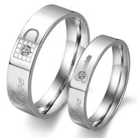 "Titanium Stainless Steel Lock and Key Engagement Anniversary Wedding Promise Ring Couple Wedding Band with Engraved ""Love"" Rhinestone Inlay (Available Sizes: Him 6,6.5,7,7.5,8,8.5,9,9.5,10,10.5,11,11.5,12,13; Hers 5,5.5,6,6.5,7,7.5,8,8.5,9,9.5,10,10.5)"