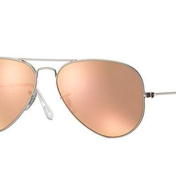 LMF8UH Ray Ban Aviator Sunglass Matte Silver Rose Gold Mirrored RB 3025 019/Z2