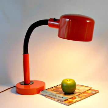 Orange Goose Neck Lamp, Mid Century Portable Lamp, Vintage Task Light, Industrial Decor Desk Lamp, 1970's Retro Decor, Mod Office Lighting