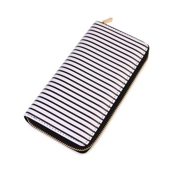 Striped Zipper Wallet