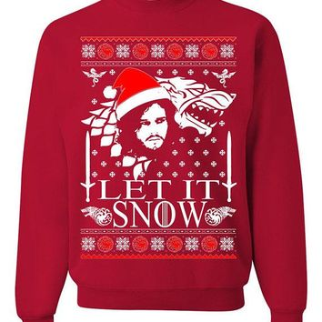 Let it Snow Jon Snow Ugly Christmas Sweater New Unisex Sweatshirt