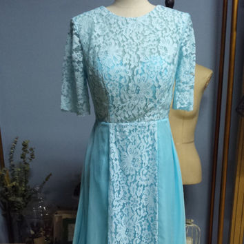 Real Photo Light Blue Floor Length Half Sleeves Summer Lace and Chiffon Breathable Homecoming Evening Party Dress (O032)