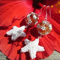 White Starfish Beaded Bead Orange Agate Gemstone Sterling Earrings