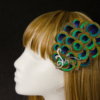 Peacock feather eye and silver curl accent hair fascinator clip