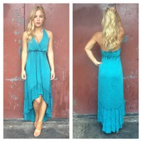 Turquoise Sleeveless Hi-Low Halter Dress