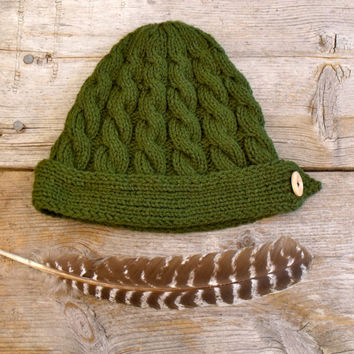 Women's Cable Knit Hat in Loden Green with Natural Wood Button, Women's Hat, Women's Beanie, Hat with Button, Dark Green, Hat with Band,