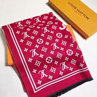 LV Louis Vuitton Woman Accessories Cape Scarf Scarves Red
